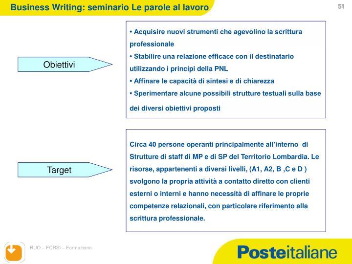 Business Writing: seminario Le parole al lavoro