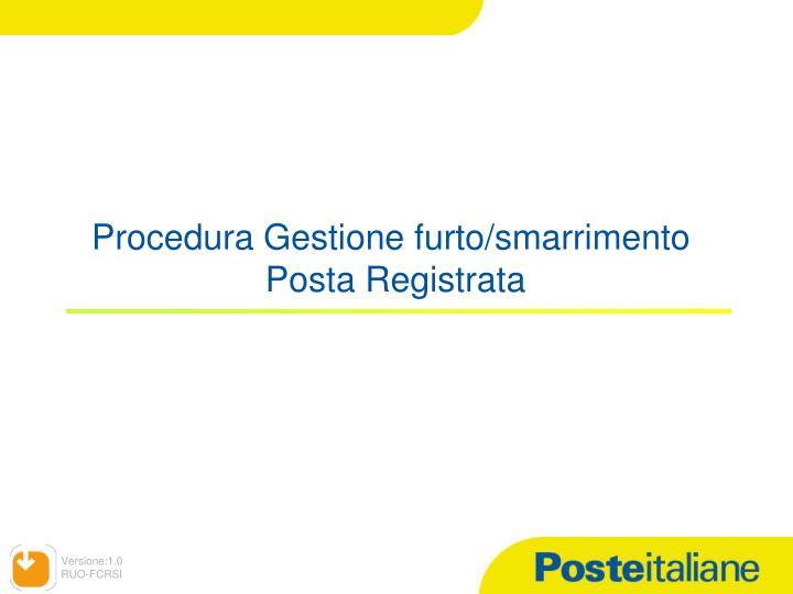 Procedura Gestione furto/smarrimento