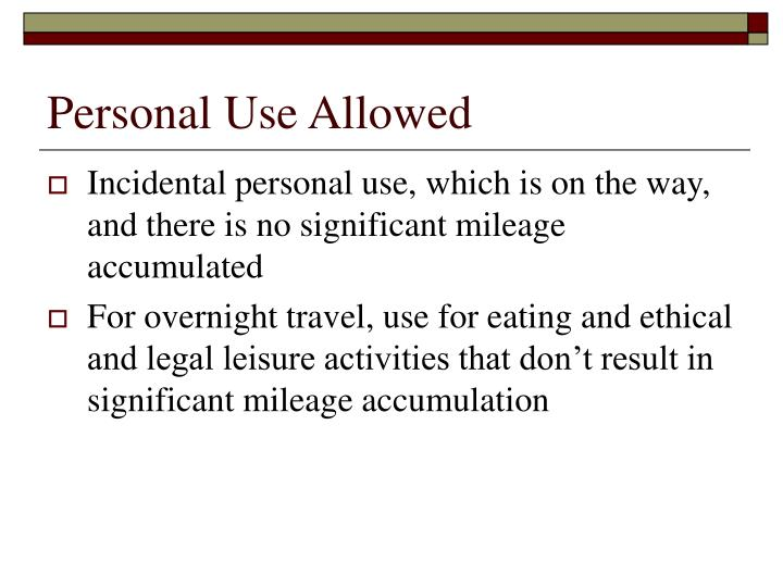 Personal Use Allowed
