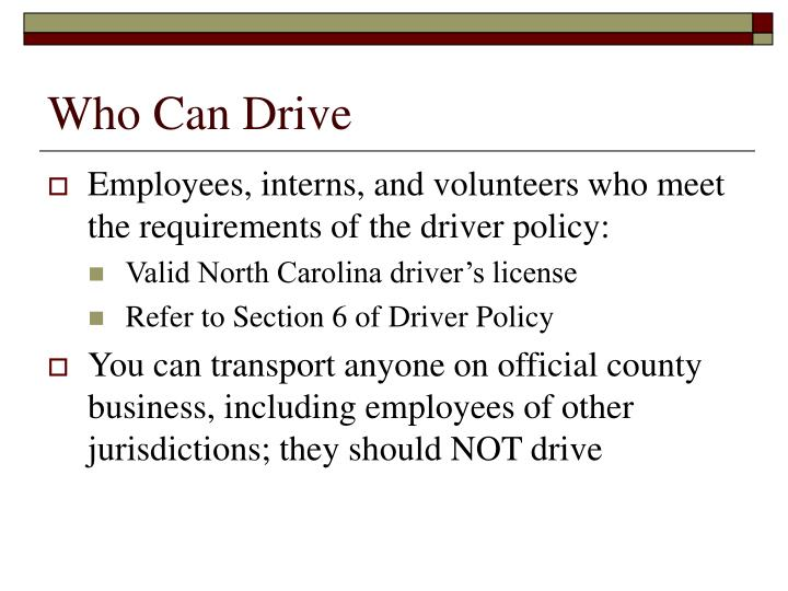 Who Can Drive