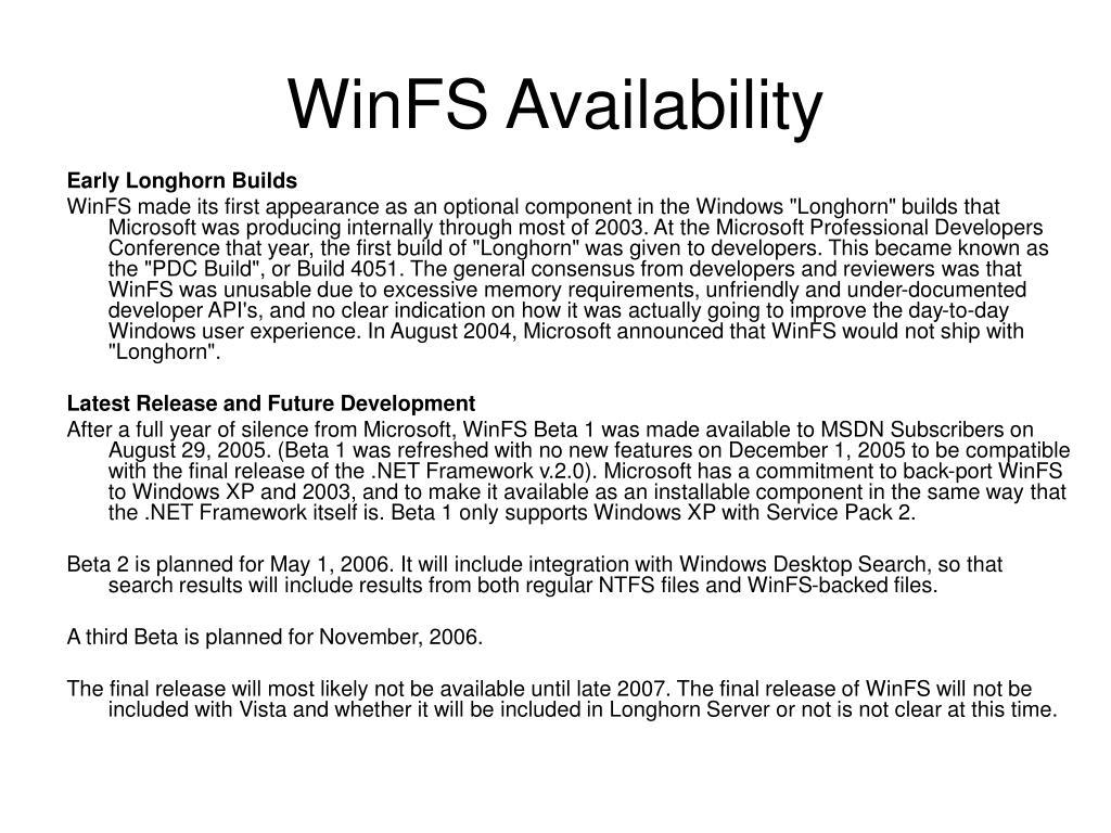 WinFS Availability