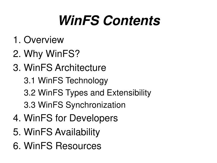 Winfs contents