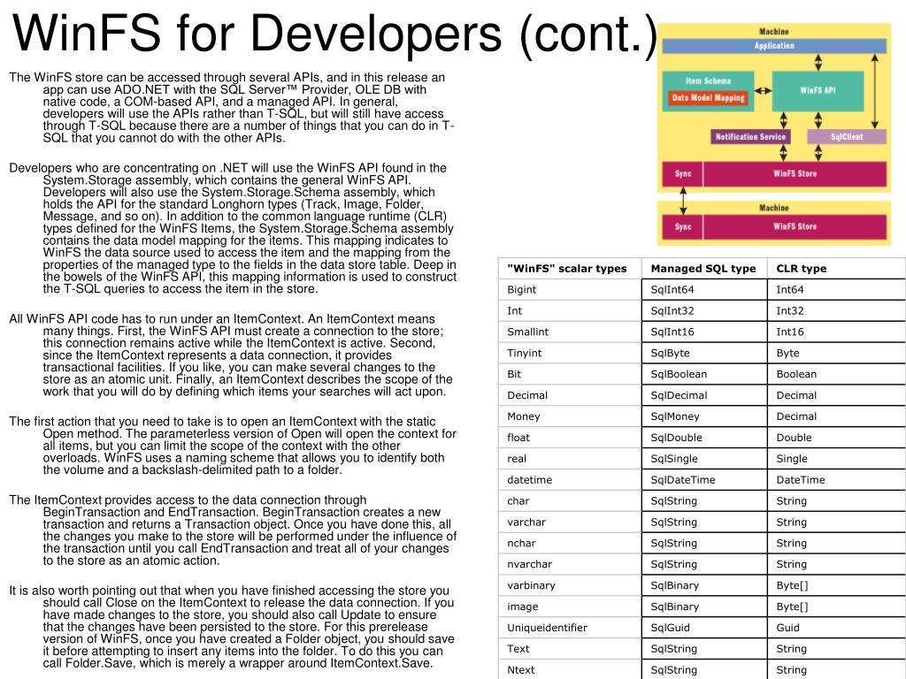 WinFS for Developers (cont.)