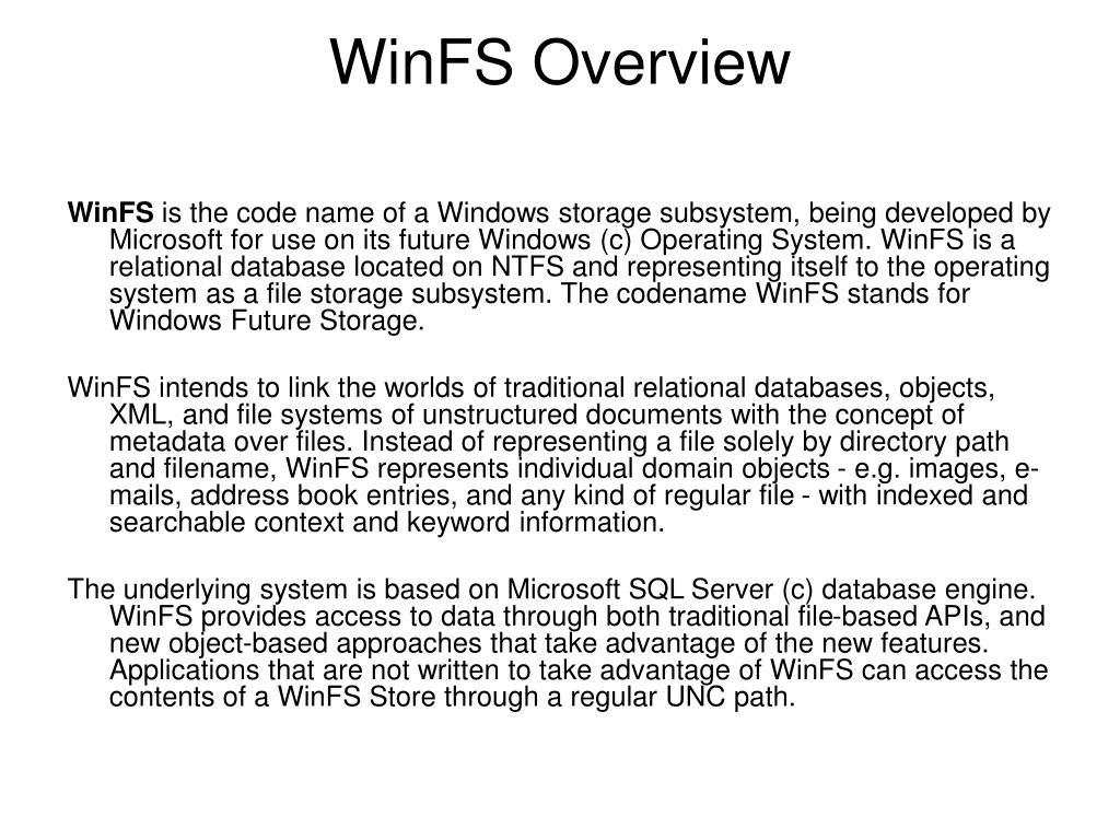 WinFS Overview