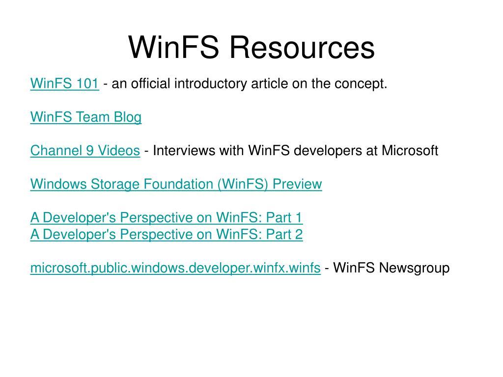 WinFS Resources