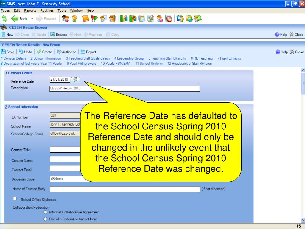 The Reference Date has defaulted to the School Census Spring 2010 Reference Date and should only be changed in the unlikely event that the School Census Spring 2010 Reference Date was changed.