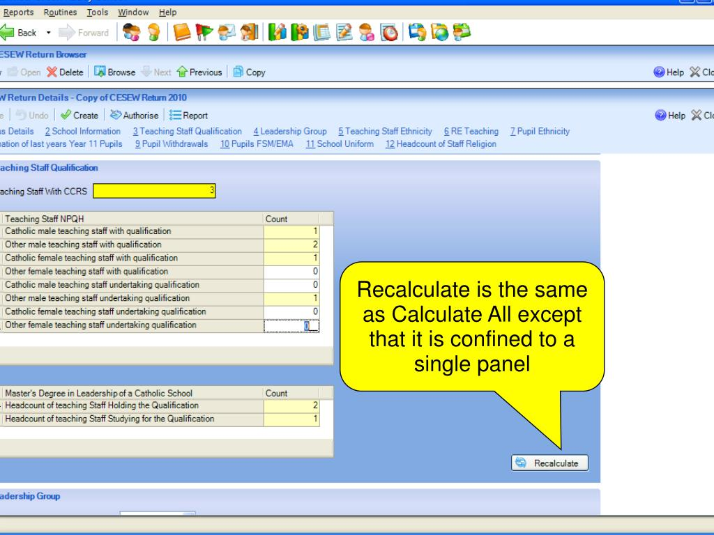 Recalculate is the same as Calculate All except that it is confined to a single panel