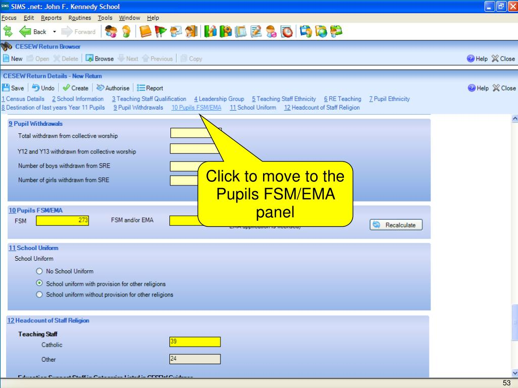 Click to move to the Pupils FSM/EMA panel