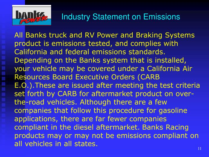Industry Statement on Emissions