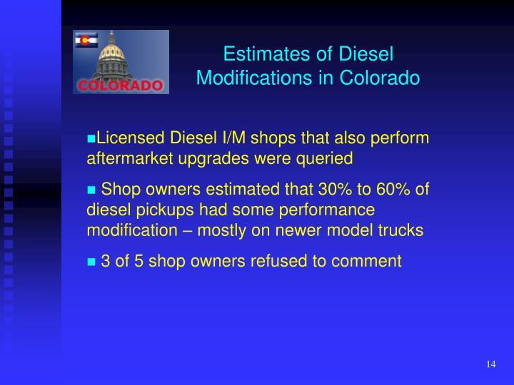 Estimates of Diesel Modifications in Colorado
