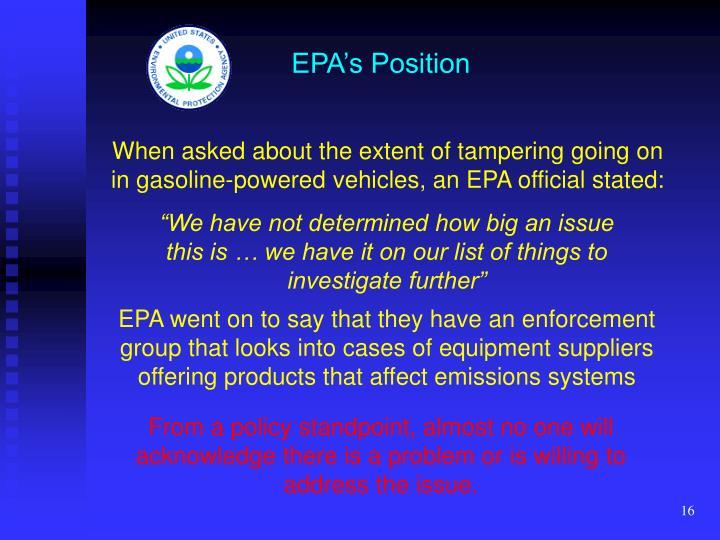 EPA's Position