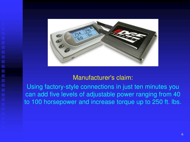 Manufacturer's claim:
