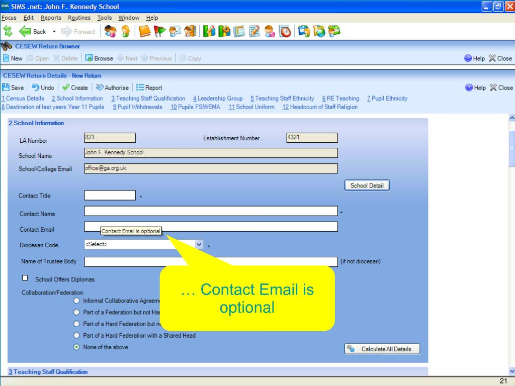 … Contact Email is optional