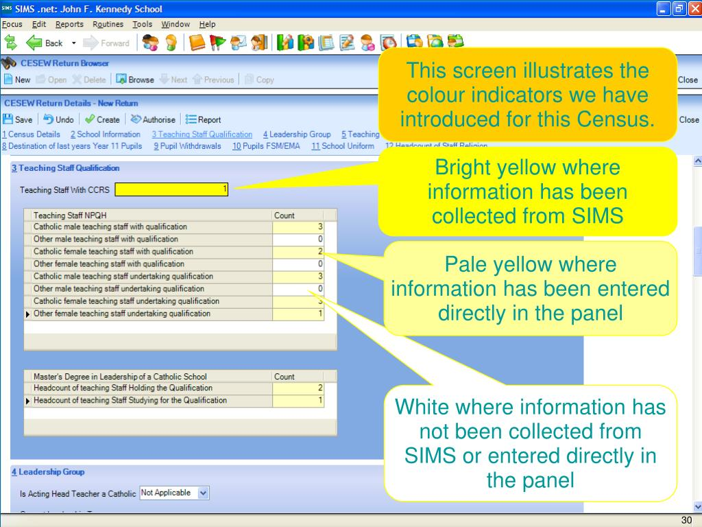 This screen illustrates the colour indicators we have introduced for this Census.