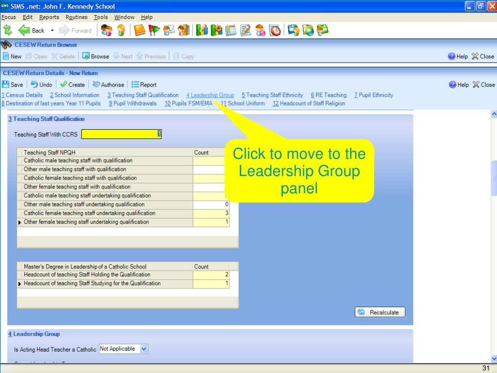 Click to move to the Leadership Group panel