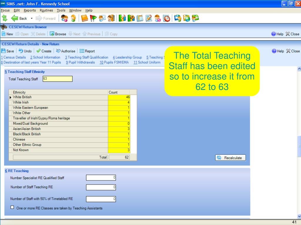 The Total Teaching Staff has been edited so to increase it from 62 to 63
