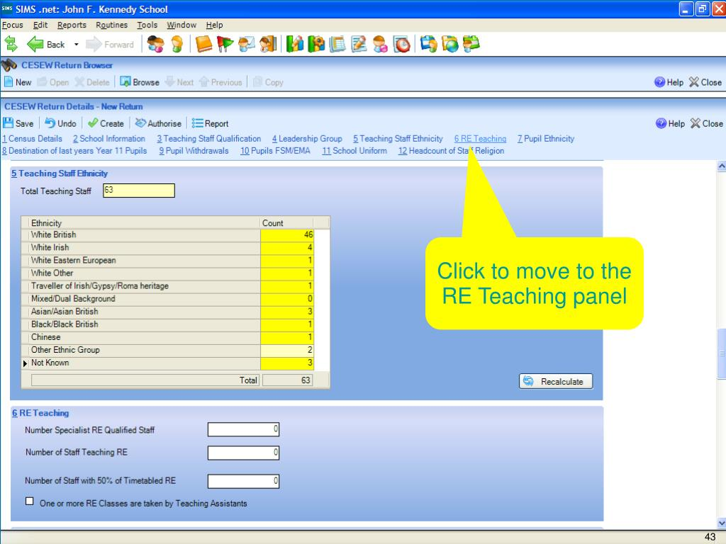 Click to move to the RE Teaching panel