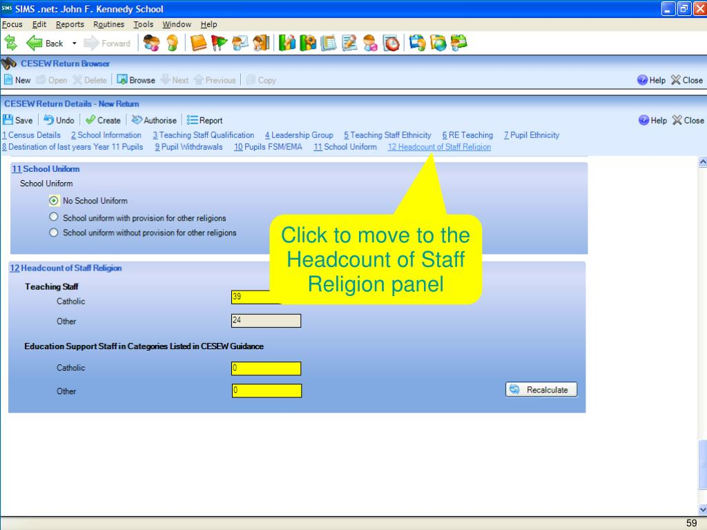 Click to move to the Headcount of Staff Religion panel