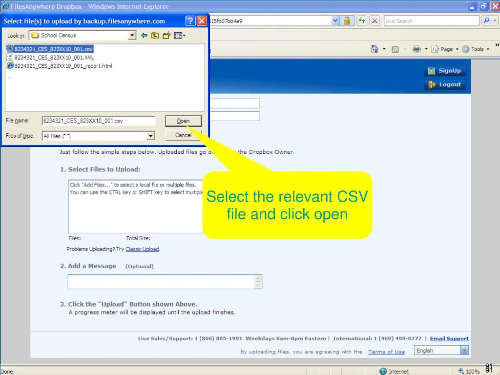 Select the relevant CSV file and click open