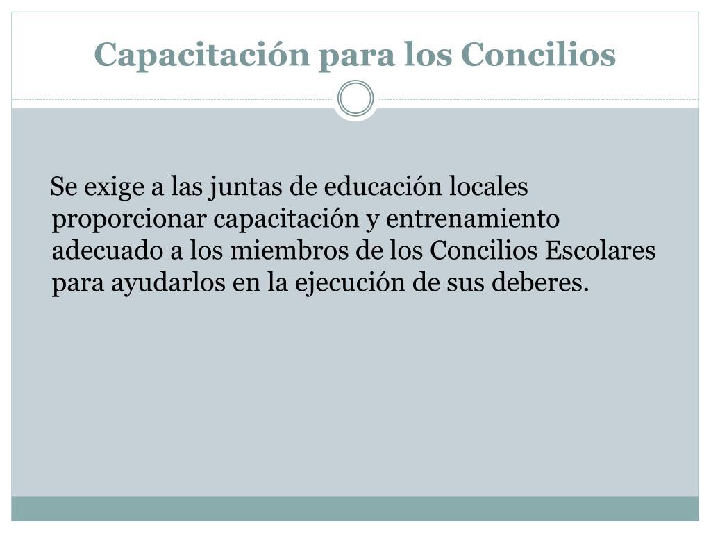 Capacitación para los Concilios