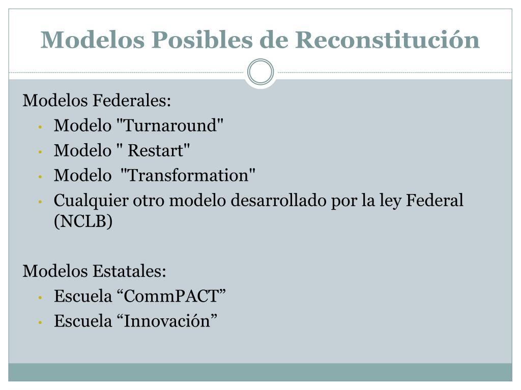 Modelos Posibles de Reconstitución