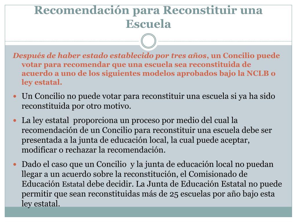 Recomendación para Reconstituir una Escuela