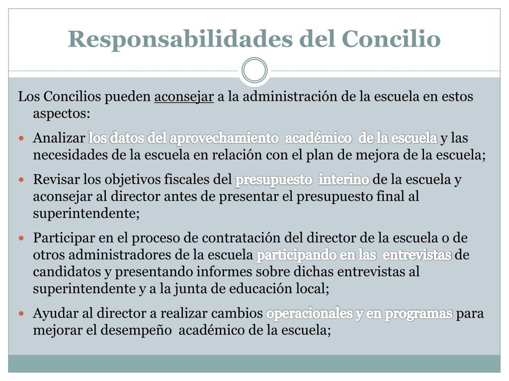 Responsabilidades del Concilio