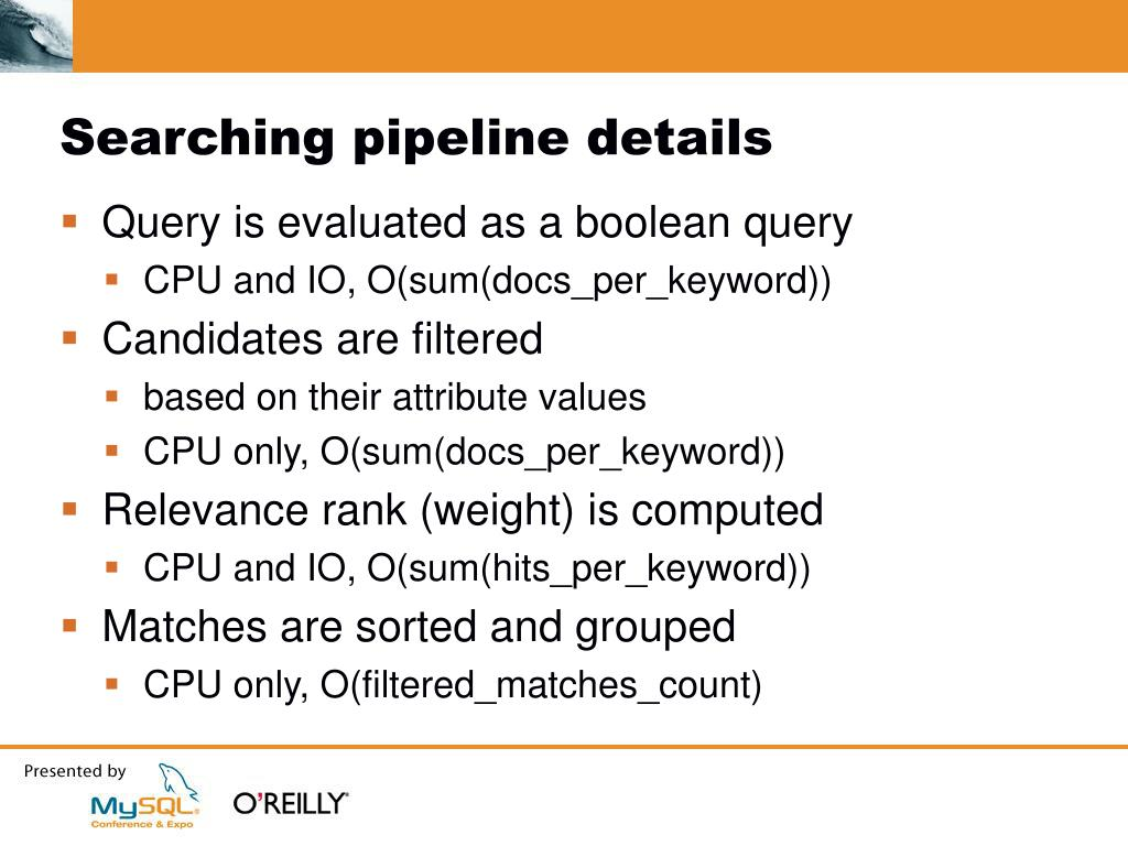 Searching pipeline details