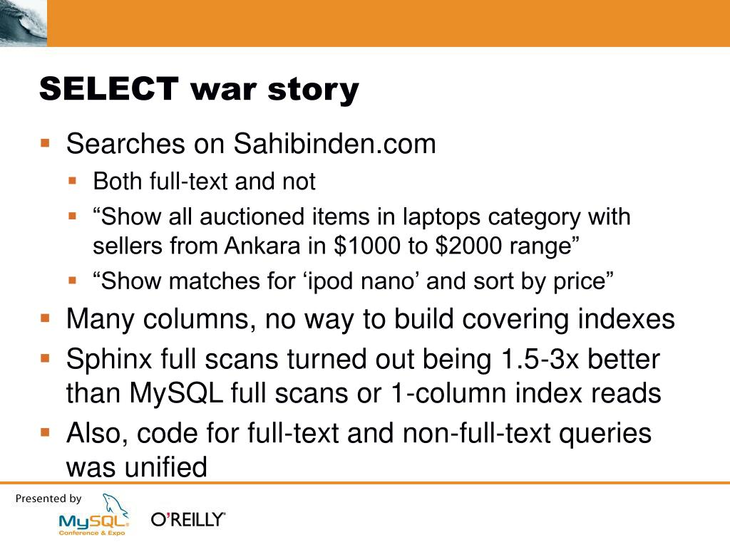 SELECT war story