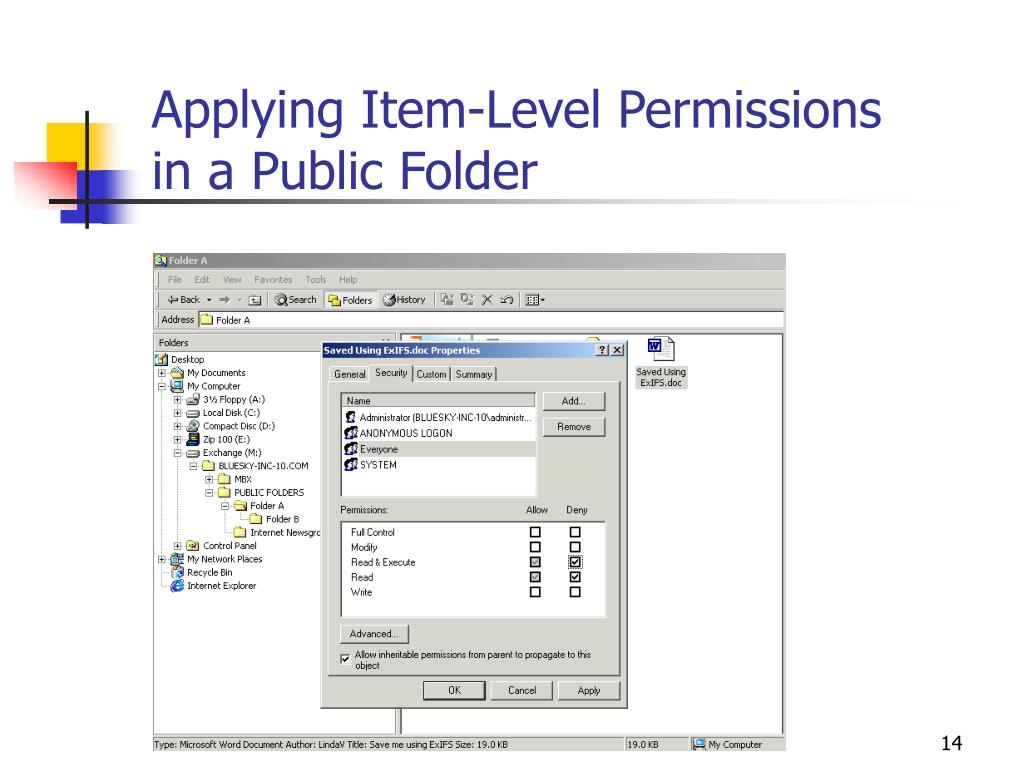 Applying Item-Level Permissions in a Public Folder