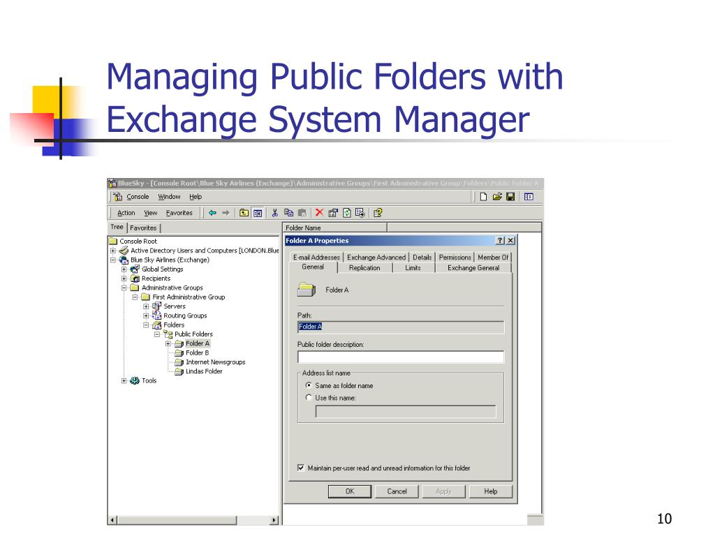 Managing Public Folders with Exchange System Manager