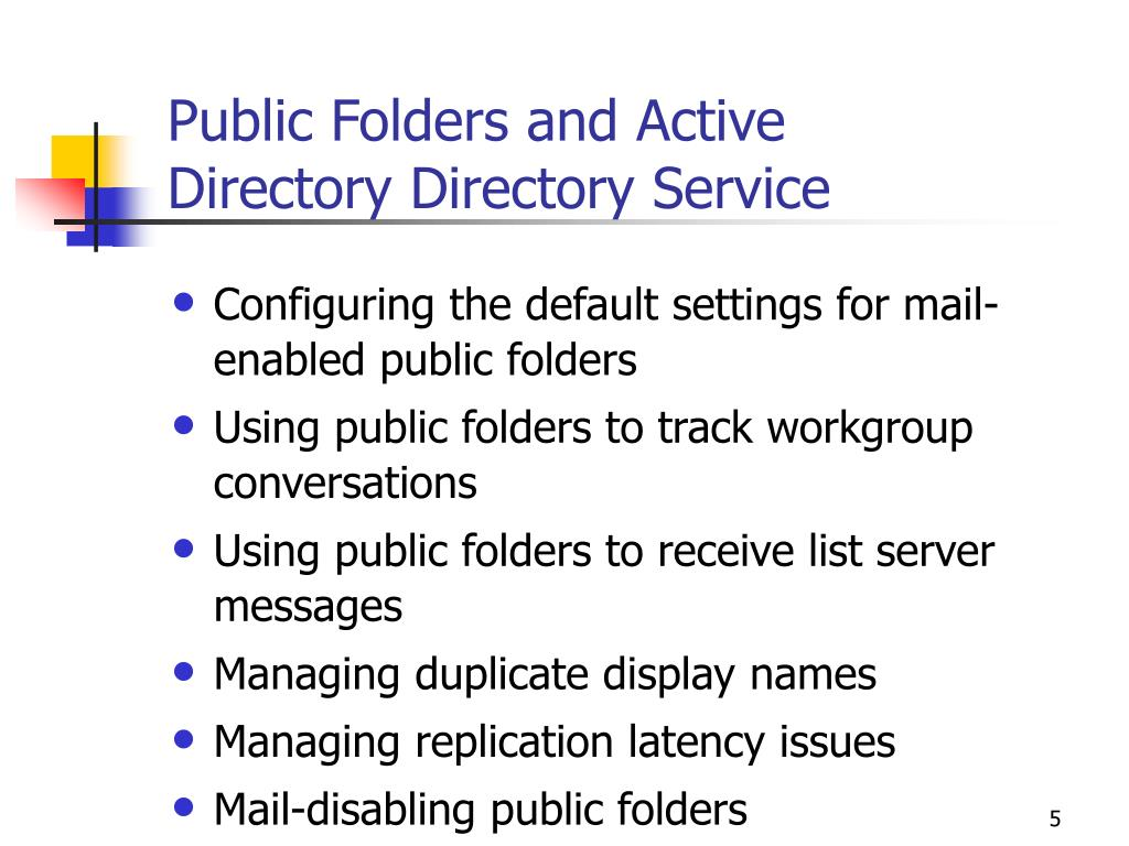Public Folders and Active Directory Directory Service