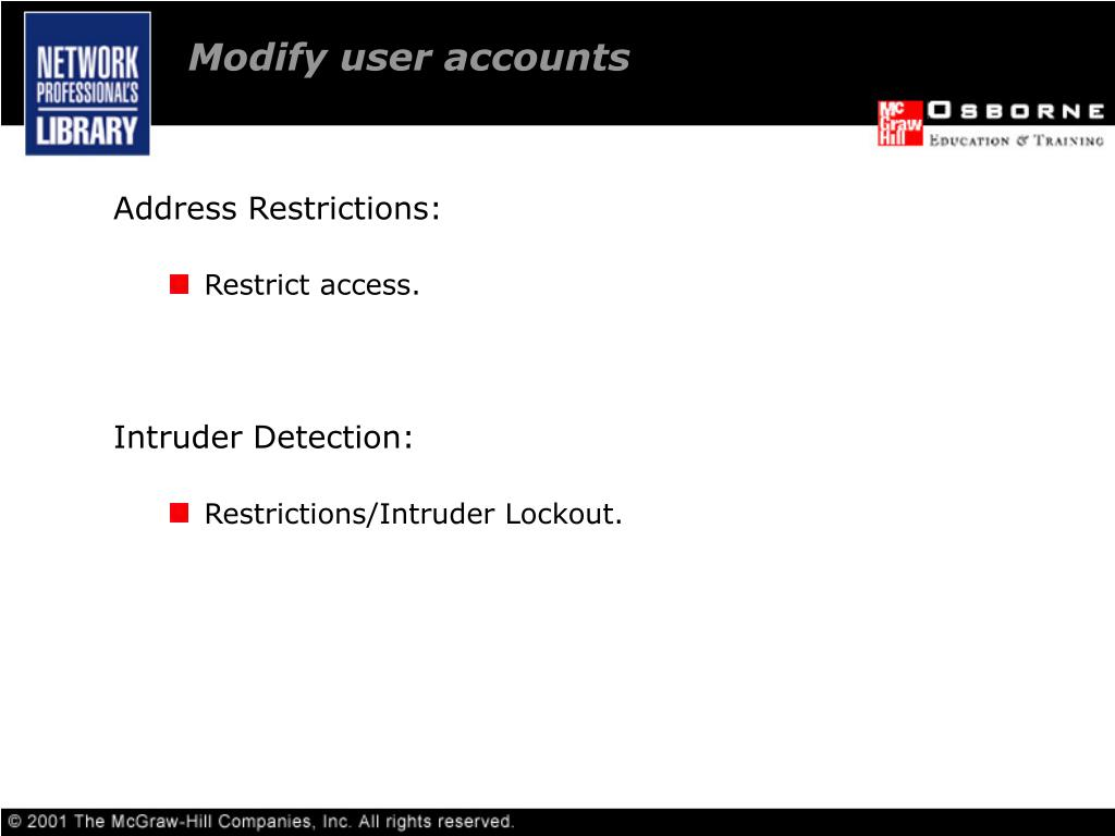 Modify user accounts