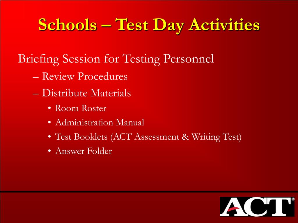 Schools – Test Day Activities