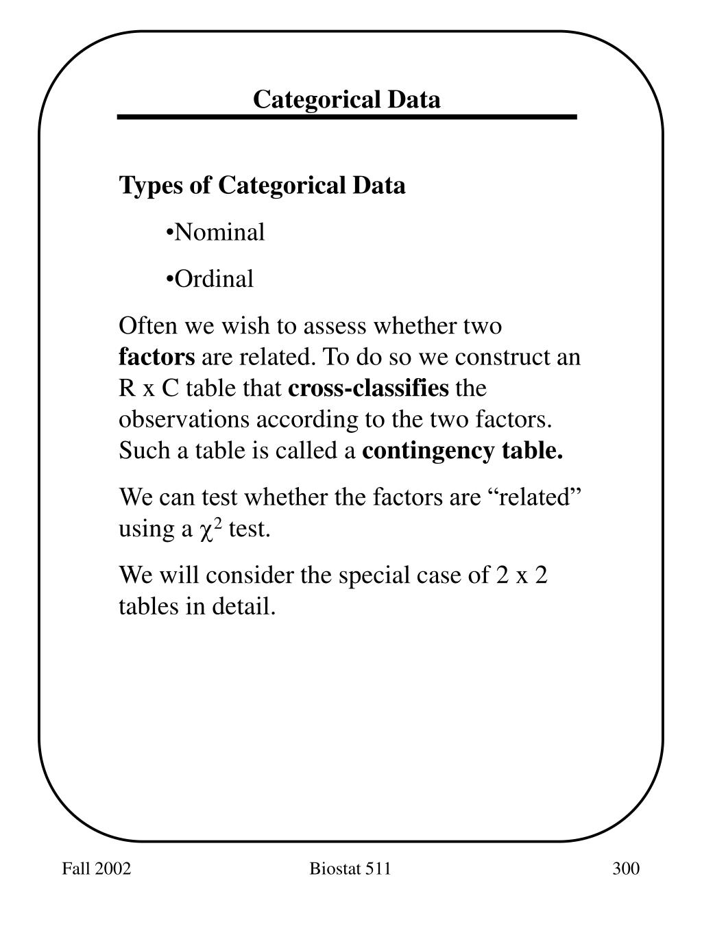 Categorical Data