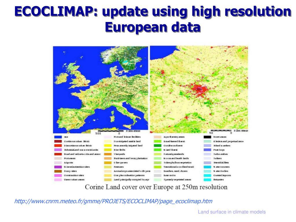 ECOCLIMAP: update using high resolution European data
