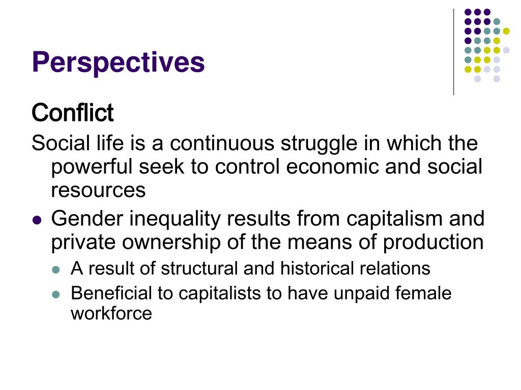 Conflict perspective in gender inequality