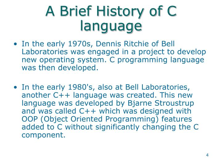 A Brief History of C language