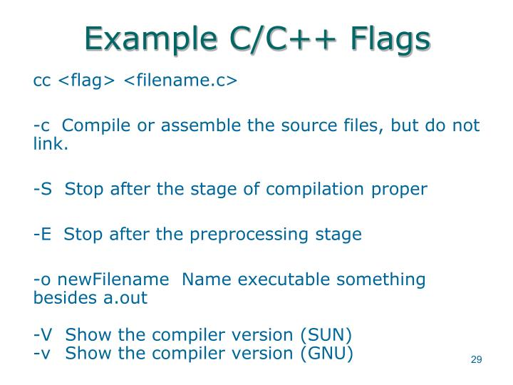 Example C/C++ Flags
