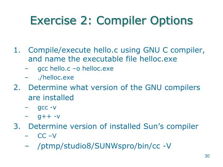 Exercise 2: Compiler Options