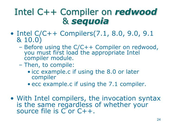 Intel C++ Compiler on