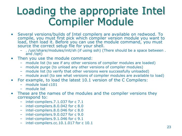 Loading the appropriate Intel Compiler Module