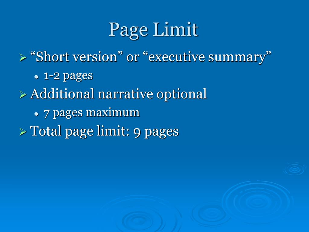 Page Limit