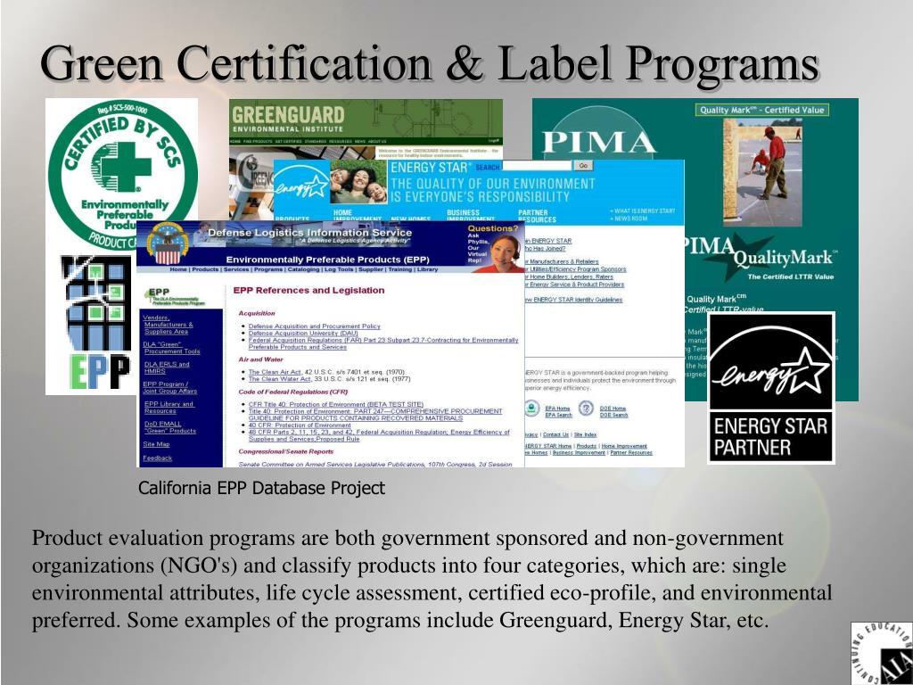 Green Certification & Label Programs