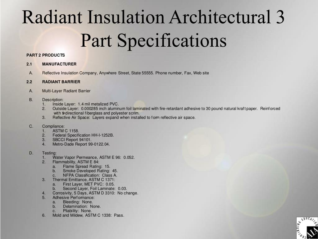 Radiant Insulation Architectural 3 Part Specifications