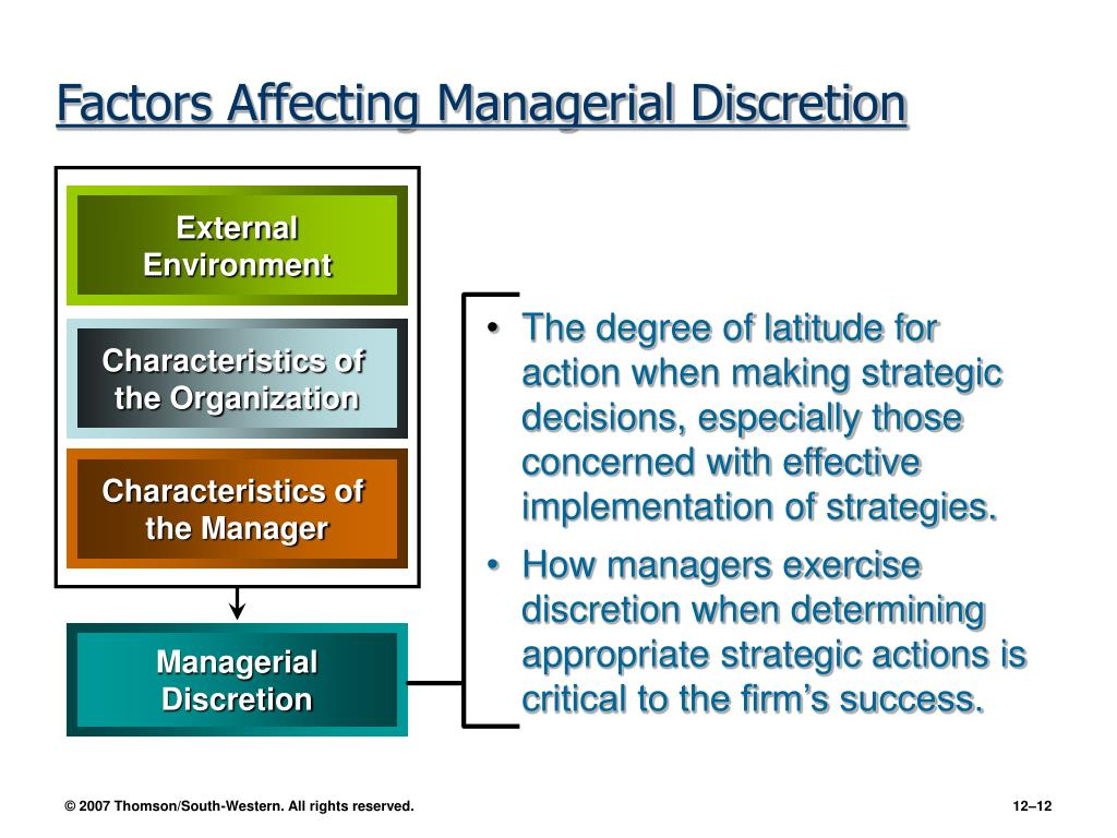 The degree of latitude for action when making strategic decisions, especially those concerned with effective implementation of strategies.