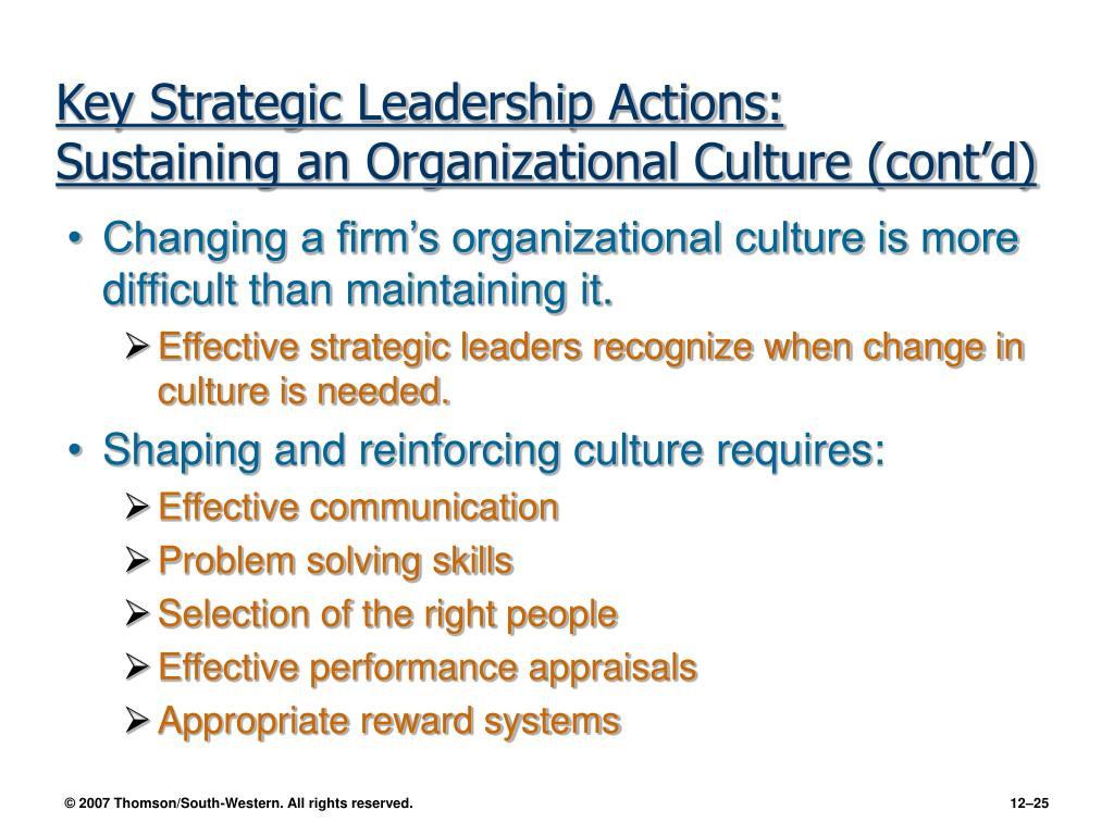 Key Strategic Leadership Actions: