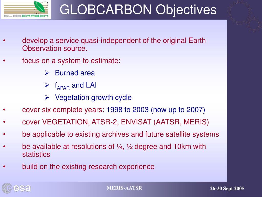 GLOBCARBON Objectives