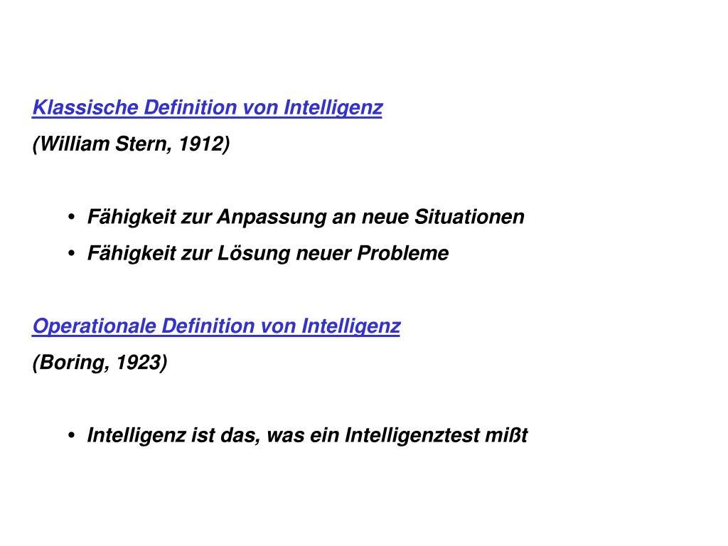 Klassische Definition von Intelligenz