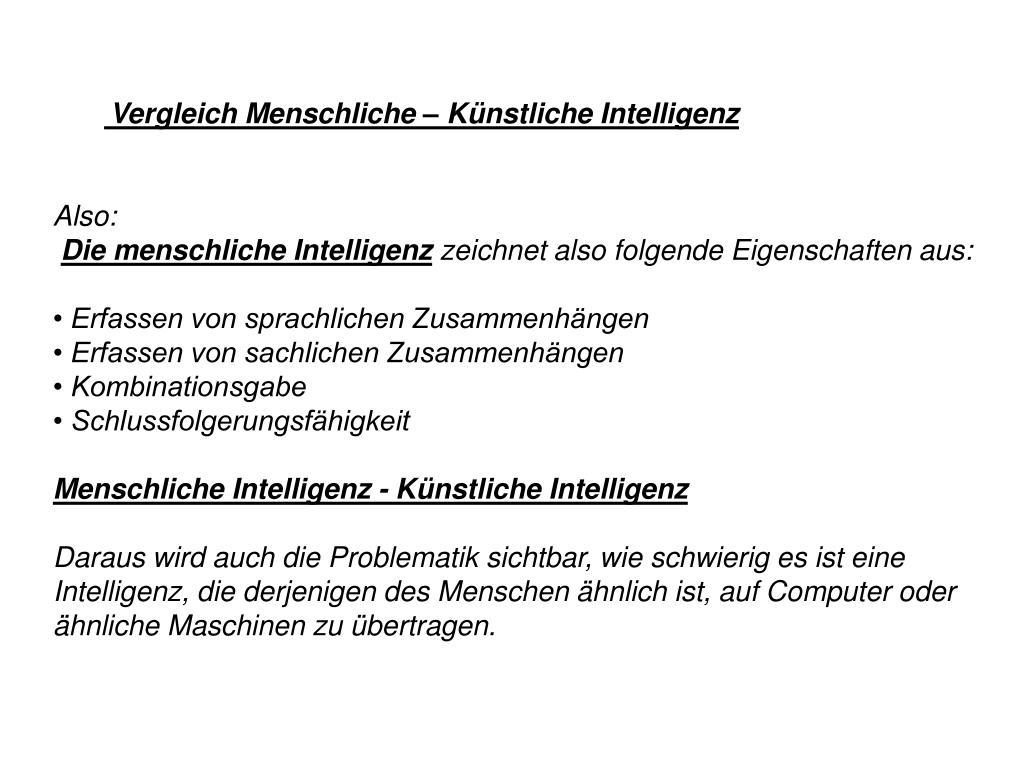 Vergleich Menschliche – Künstliche Intelligenz